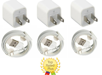 3X Apple OEM Home Wall AC Charger for iPhone 6 7 8 X  Data Sync USB Cable Cord