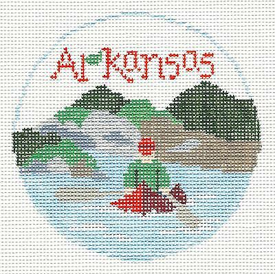 SP.ORDER ~ ARKANSAS Outdoor HP Needlepoint Canvas Ornament by Kathy Schenkel RD.