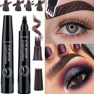 4-Tip Fork Microblading Eyebrow Pencil Tattoo Pen Makeup Waterproof Long-Last