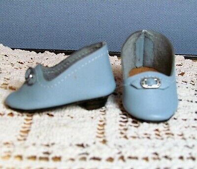 "Antique Doll Heeled Shoes French German Fashion BJB ~ 2"" long & 1"" wide"