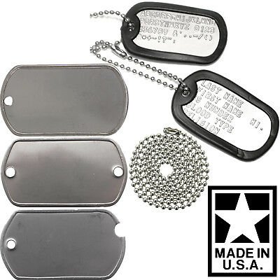 Made In USA Custom Printed Dog Tags Personalized Military GI Army ID Dogtag Set