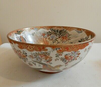 Antique Japanese LARGE MEIJI KUTANI BOWL bird decoration signed