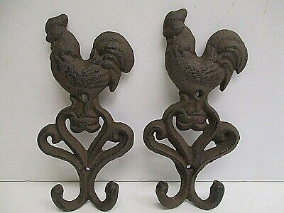 "Pair of Rooster Hen double Wall Hook Rack 6.5""x3.25"" Farm Rustic Home Decor"