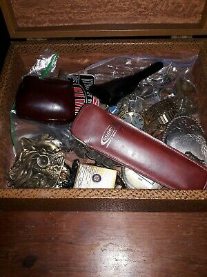 Vintage Mens Junk Drawer lot in Old P.M. & Co. Box-Prometheus Lighter,Keys,ect.