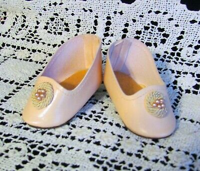 "Antique Doll Heeled Shoes French German Fashion BJB ~  2 1/2""long & 1 1/4"" wide"