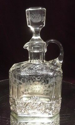 Vtg. Antique Sterling Silver And Etched Crystal Glass Decanter