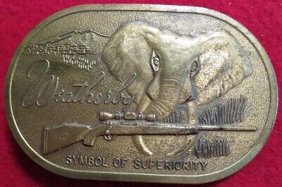 1970's Weatherby Firearms Solid Brass Belt Buckle with Elephant & Rifle Art Used