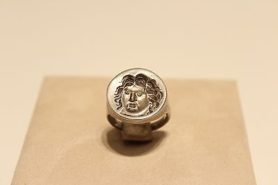 Vintage Nice Men's Silver Copy Of Ancient Greek Seal Ring With Apollon Head
