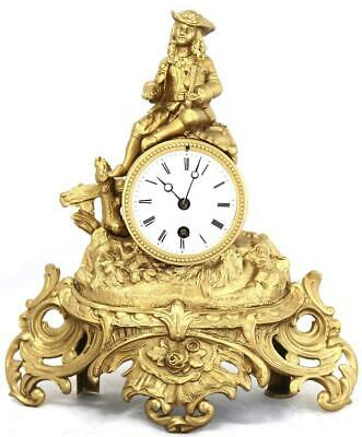 Antique French Mantle Clock 19th C Gilt Metal 8 Day Figural By S.Marti