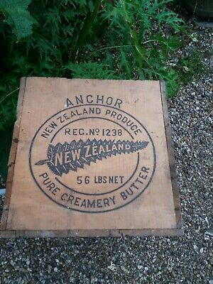Vintage Wooden anchor Crate Rustic Old storage Box - Shabby Chic Edinburgh label