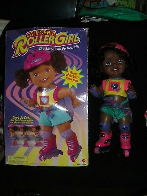 Vintage 1990s Boxed California Roller Girl Black African Baby Doll by Mattel