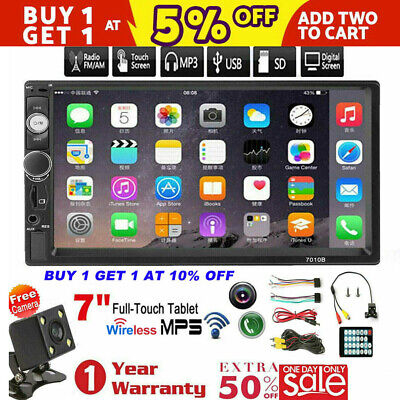 """7"""" inch Double 2 DIN Car MP5 Player Bluetooth Touch Screen Stereo Radio + Camera"""