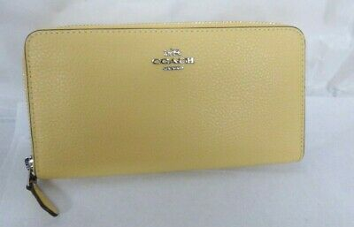 Coach Light Yellow Pebbled Leather Accordion Zip Around Wallet F16612 NWT $250