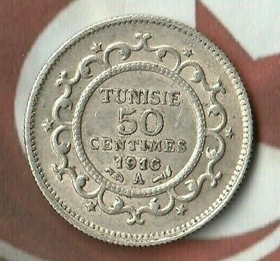 1916 (1334) Tunisia 50 Centimes - 83.5% Silver---  Nice Silver Coin from Africa