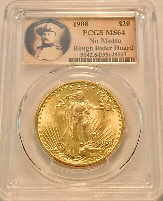 1908 $20 PCGS MS 64 Gold St. Gaudens Double Eagle, Rough Rider Hoard Saint Coin