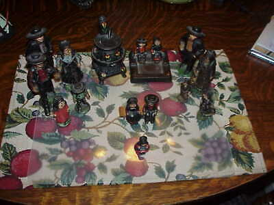 15 pc Cast Iron Amish People Family Figurines Adults Kids Potbelly Stove Bench +