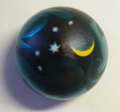 Signed Smyers Iridescent Cobalt Blue Art Glass Moon and Stars Heavy Paperweight
