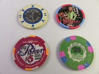 Lot of Four (4) Casino Chips. Playboy, Taj Poker, Baldini's, Peoples Choice