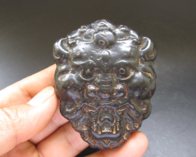 Ancient Chinese,Hongshan Culture,Old Jade,black magnet,tiger head,pendant A963