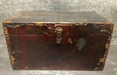 Rare Chinese Antique Hand Painted Wooden Box With Side Drawer