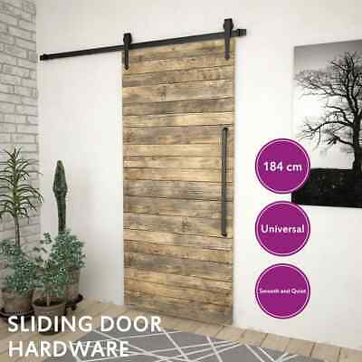 vidaXL 183cm Sliding Barn Door Hardware Track Kit Steel Black Interior Closet