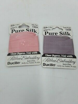Bucilla Pure Silk Ribbon Embroidery 2 yds 13mm Lot of 2 Pink,Purple