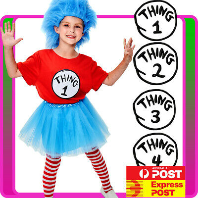 Kids Thing 1 Thing 2 Costume Dr Seuss Cat In The Hat Girls Child Book Week Dress