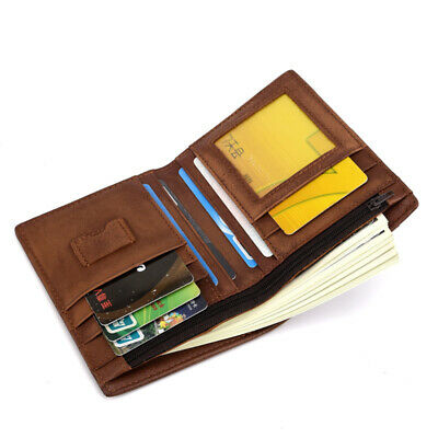 Mens Genuine Leather Casual Bifold Wallet Coins Pocket Credit Card Holder Purse