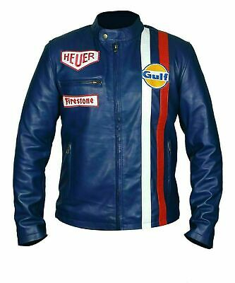 Blue Gulf Tag Heuer Steve McQueen Racing Men's Real Leather Jacket For Mens