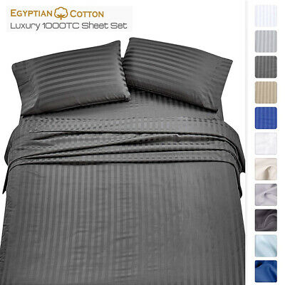 1000TC Cotton Blended 4ps Flat & Fitted Sheet Set Queen/King/Super King Size Bed