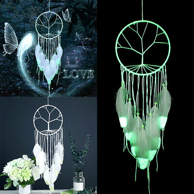 Luminous Feather Glow  in Dark Dream Catcher Night Bed Hanging DIY Decor White