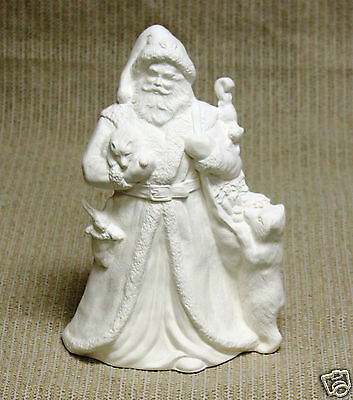 Ceramic Bisque Santa with Bear Provincial Mold 990 U-Paint Ready To Paint