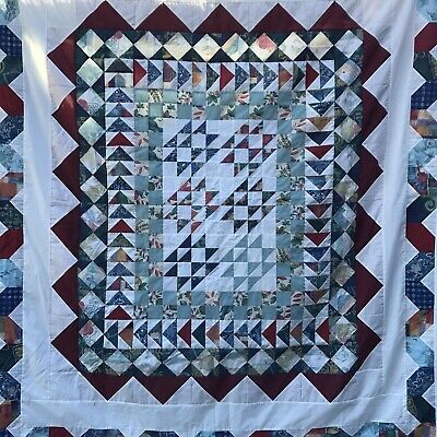 Handmade Hand Quilted American Style Vintage Old Patchwork Quilt - Cover- Queen