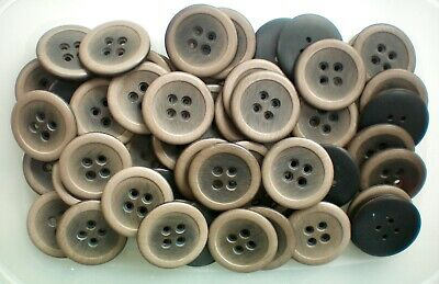 Large 28mm 44L Light Brown /& Cream Brush Effect Coat 4 Hole Buttons Button W128B