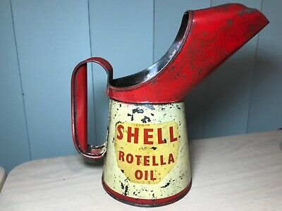 Rare Vintage 1963 One Pint Shell Rotella Oil Can Pourer