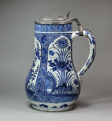 Antique Dutch delft blue and white tankard, late 17th century