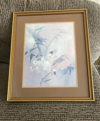 Vintage Large Picture Of Bird & Flowers In Gold Frame Signed L.Gaydons