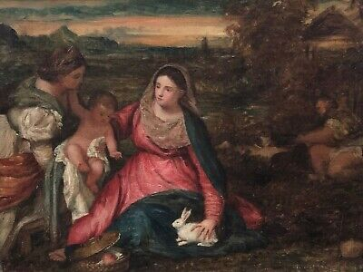 The Madonna of the Rabbit Antique Oil Painting after Titian (Italian, 1485-1576)