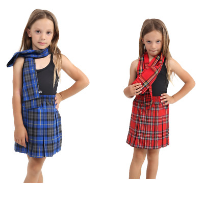 Girls Tartan Box Pleated School Skirt All round Elasticated Knee Length 5-12 Red