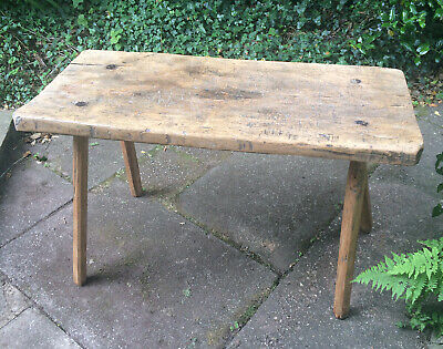 Antique Rustic French Butchers Bench Block Work Table Farmhouse Country Kitchen