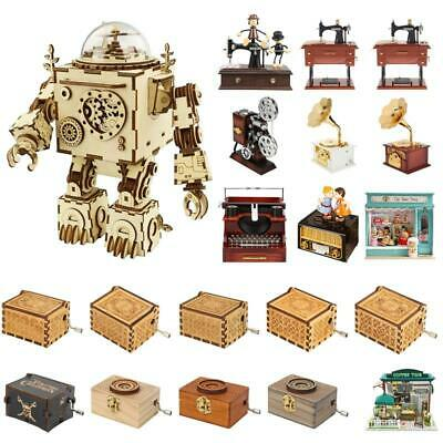 61Styles Retro Wooden Music Box Emitting Carousel Kid Birthday DIY Handmade Gift