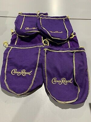 "Lot Of 6 Medium Purple Crown Royal Bags 9"" Gold Stitch and Gold Drawstring"