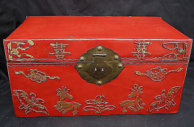 Antique Leather DOCUMENT BOX Trunk Red Gold Onlays Symbols Deer Butterfly Japan