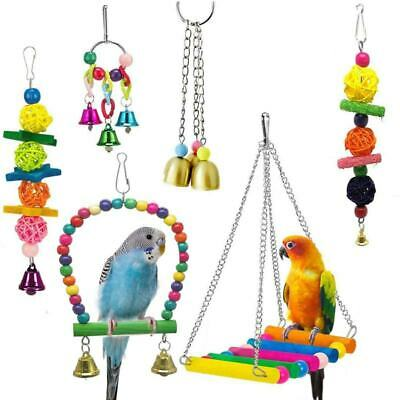 2X(6 Pack Bird Swing Toys-Parrot Hammock Bell Toys For Budgie,Parakeets, Cocka H
