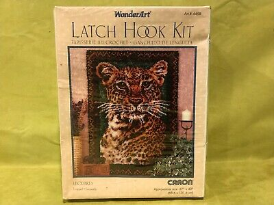 "Vtg large leopard latch hook kit 27"" x 40"" caron animal nature wildlife yarn rug"