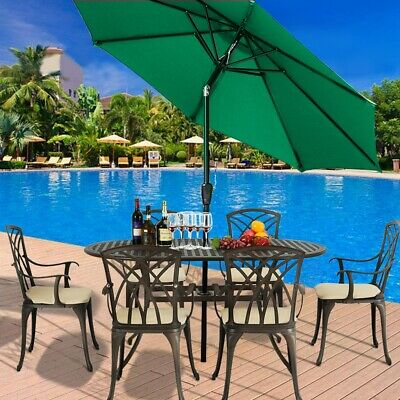 2.7M Round Garden Parasol Sun Shade Outdoor Patio Umbrella Aluminium Crank Tilt