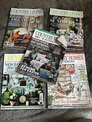 5x Country Living Country Homes & Interiors Magazine Bundle April June May
