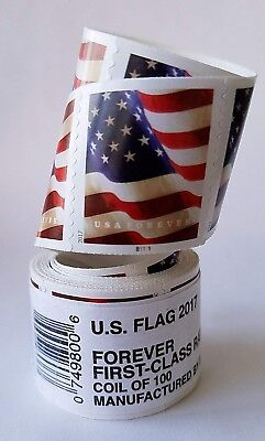 1000 (10 roll of 100) USPS FOREVER STAMPS US FLAG COIL FIRST CLASS POSTAGE