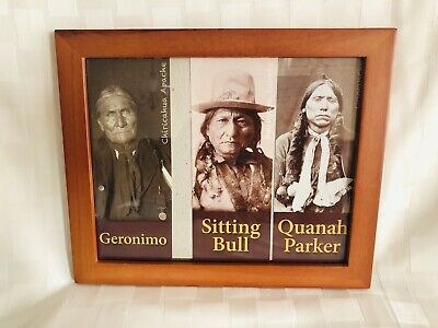 Native American Indian Chiefs Framed Picture Geronimo Sitting Bull Quanah Parker