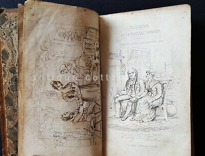 early 1800s antique LEATHER ROBERT BURNS COMPLETE WORKS nice stitch JAMES CURIE